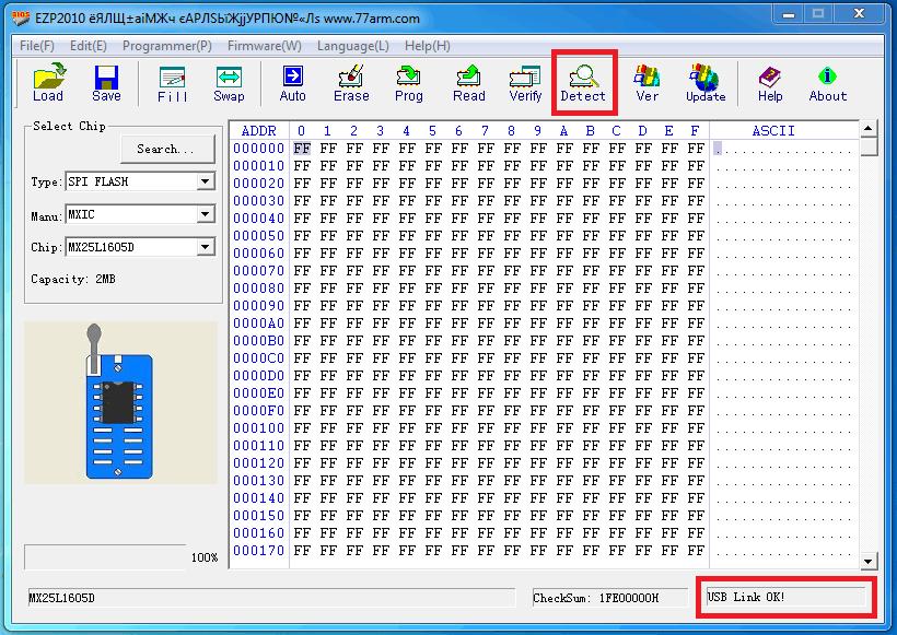 """нажать кнопку """"Detect"""" и EZP2010 автоматически определит установленную микросхему"""